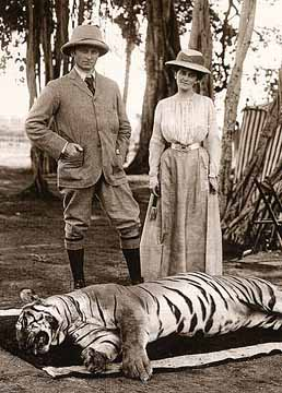 Lord Curzon with his lady and the tiger, in India