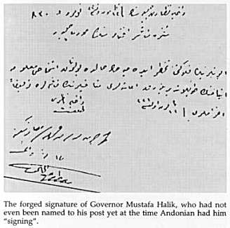 Aram Andonian forged signature of Gov. Mustafa Halik