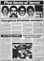 "Boston Herald page from 1982, on Armenian terrorists. ""Five Faces of Terror"""