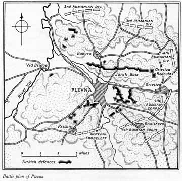 Map: Battle plan of Plevna