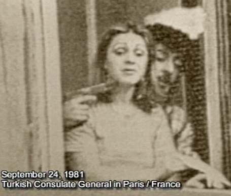 Woman held hostage by Armenian terrorists  in  Paris' Turkish embassy, Sept. 24, 1981