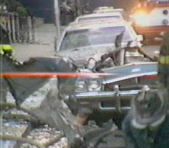 Destroyed car from Armenian terror attack