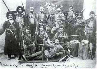 Armenian commander VARTAN (S. Mehrabian) with a few of his men